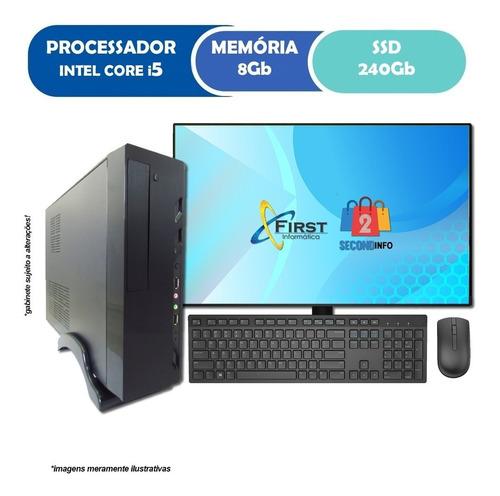 Imagem 1 de 3 de Pc Computador Cpu Slim Core I5 +ssd 240gb, 8gb+ Monitor 19