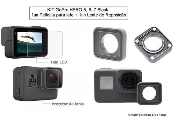 Kit Película 5 6 7 Black Vidro Temperado + Lente Reposição