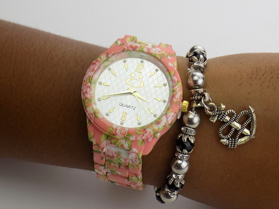 Relógio Florido Dourado Rose Strass Original Barato