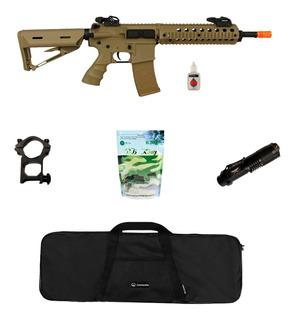 Rifle Airsoft Elétrico Src M4a1 Tan + Acessórios + Lanterna