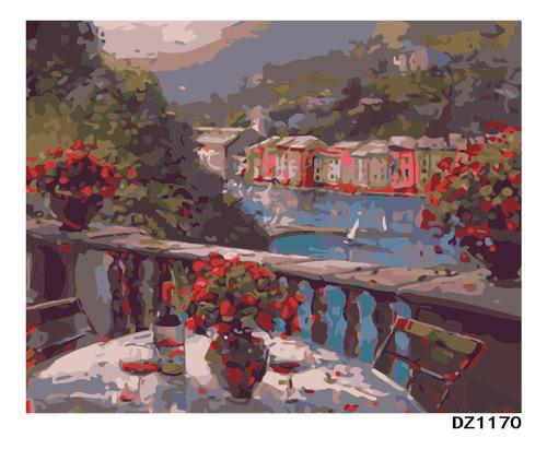 Pintura Numerada Vaso De Flores Paisagem_p2