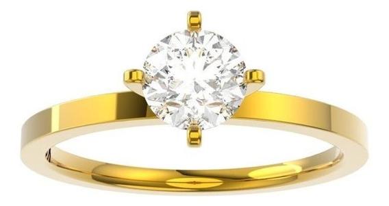 Anel De Noivado Ouro E Diamante De 50 Pontos- Taken50