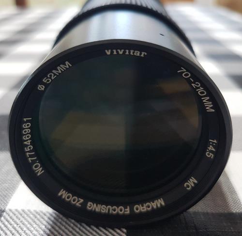 Lente Vivitar Tele D=52mm, 70-210mm, 1:4.5, Mc  Macro  Zoom.