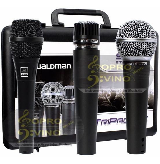 Kit 03 Microfones Profissionais Waldman Stage S-3pm