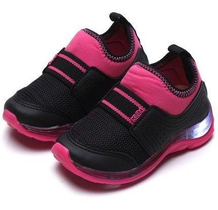 Tênis Conforto Slip Pink Klin Menina Led Infantil