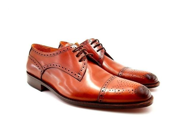 Zapato De Vestir Picado Marron Leonetti Hombre Cuero Legitim