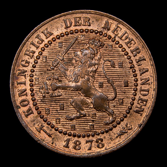 Paises Bajos, Cent, 1878. Guillermo Ill. Sin Circular