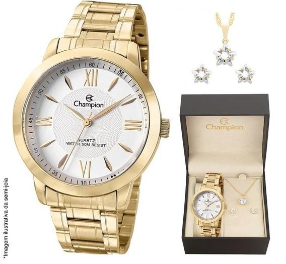 Relógio Champion Feminino Dourado Analógico + Colar E Brinco