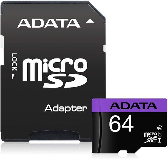 Cartão De Memória Adata Mlcrosdxc 64gb C10 Com Adaptador