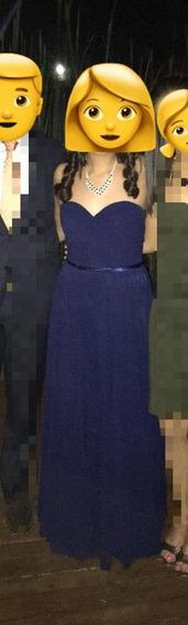 Vestido Azul Marino Largo Dama Graduación