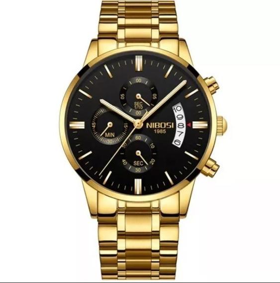 Relógio Masculino Nibosi Funcional Com Manual E Chave