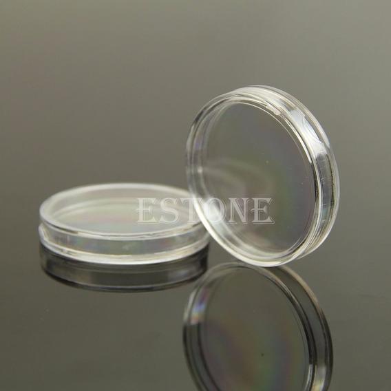 Caja Redonda Plástico Para Onza De Plata .925 40mm