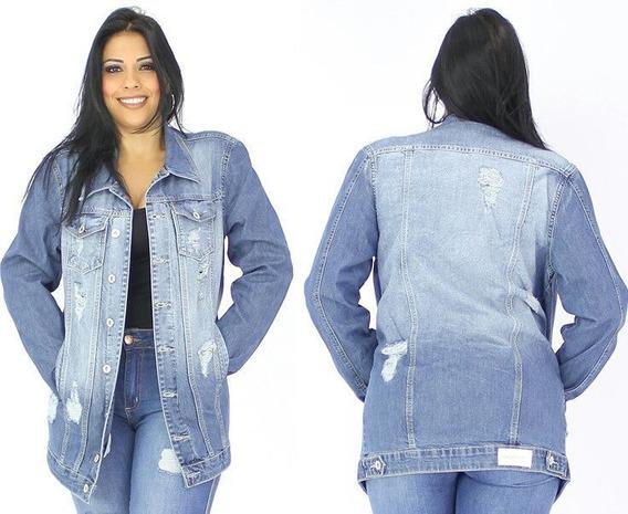 Maxi Jaqueta Jeans Feminina Plus Size Destroyed