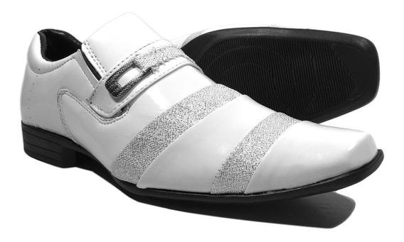 Sapato Social Branco Verniz Masculino Bico Fino