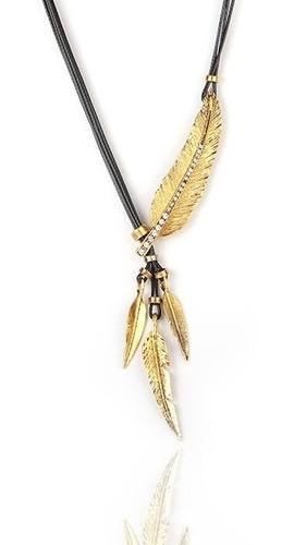 Imagen 1 de 9 de Collar De Plumas Doradas Con Incrustaciones De Cristales