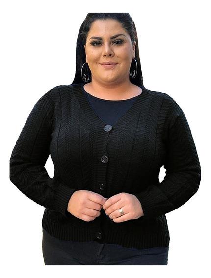 Blusa Básica De Frio Botão Tricot Plus Size Inverno Casaco