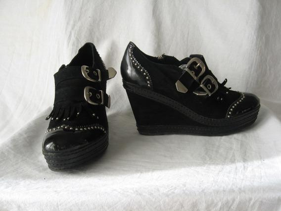  zapatos Jazmin Chebar, N° 38, Gamuza Y Charol C/plataforma