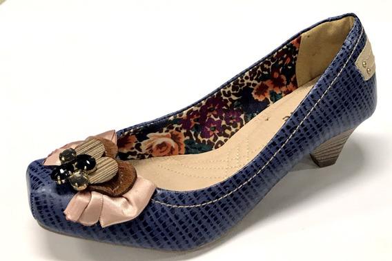 Sapato Feminino Via Marte Couro Salto Médio Bico Quadrado