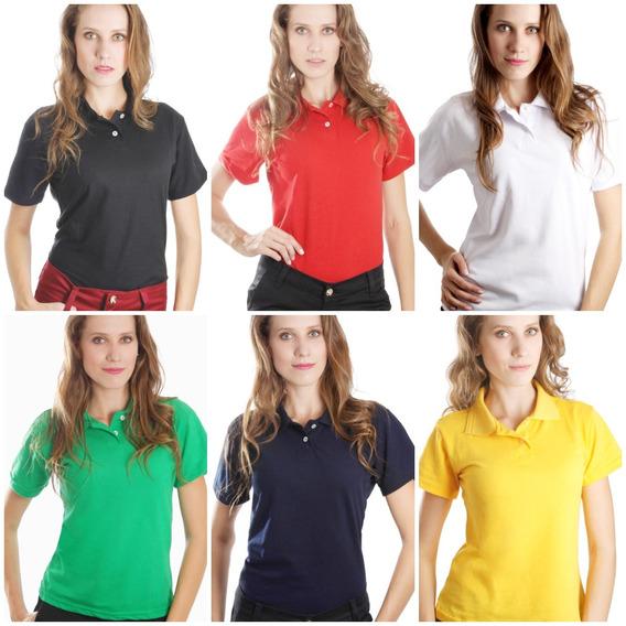 Kit 6 Camisas Polo Feminina Camiseta Atacado Uniforme Piquet