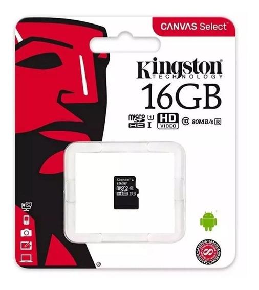 Cartão Micro Sd 16gb Kingston Classe 10 Original C/ Nota