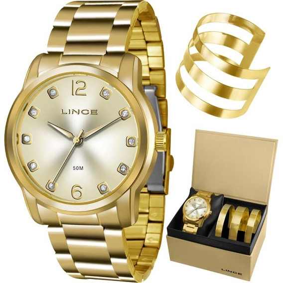 Relógio Lince Feminino Dourado Bracelete Lrg4391lk190c2kx