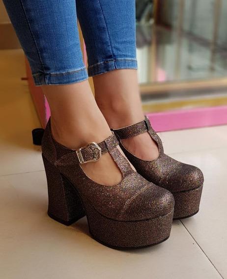 Zapatos Guillermina Taco Plataforma Alta Diseño Envio Gratis