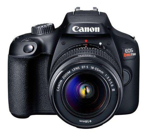 Canon EOS Rebel T100 Premium Kit DSLR color negro