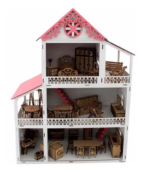 Casinha De Boneca Rosa Polly Mdf Pintada Com Kit 37 Móveis