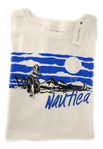 Camisa Nautica Masculina Casual Branca Estampada Original