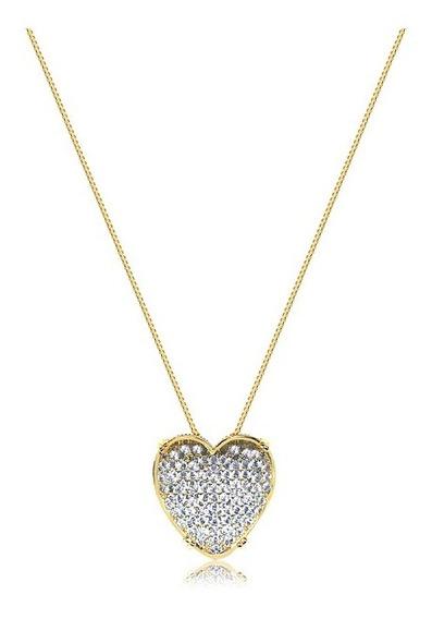 Colar Coração Luxo Zirconias E Cristal Banahdo Ouro Amarelo