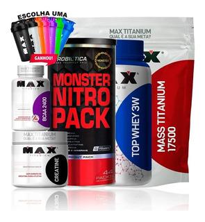Kit Max Titanium Mass Titanium Top Whey 3w Pack Duo Bcaa Cre