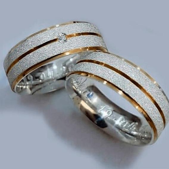 Aliança De Prata 950 Diamantada