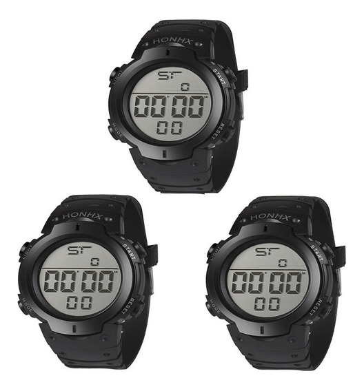 Kit 3 Relógios Masculino De Pulso Led Digital Atacado