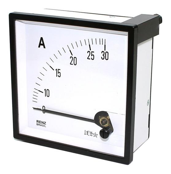 Amperimetro Analogico 72x72mm Medição Direta 0 A 30a