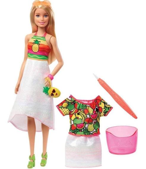 Boneca Barbie Fruta Surpresa Crayola Gbk18 Pintando A Roupa