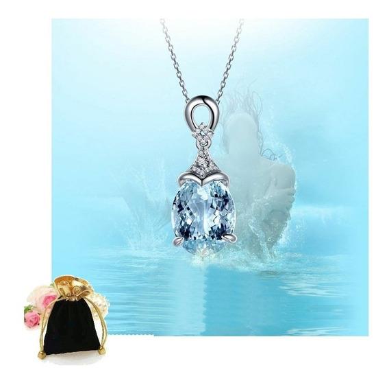 Colar Com Pingente Pedra Aquamarine Magia Do Oceano