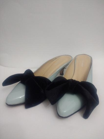 Zapato Sueco Stiletto Mujer Ferraro 37 Negro Celeste Moño