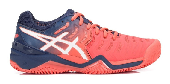 Tênis Asics Gel Resolution 7 Clay Salmão E Azul Niágara