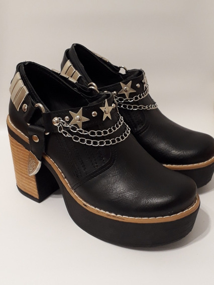 Zapatos Mujer Botas Suecos Plataforma Cuero Ecologico