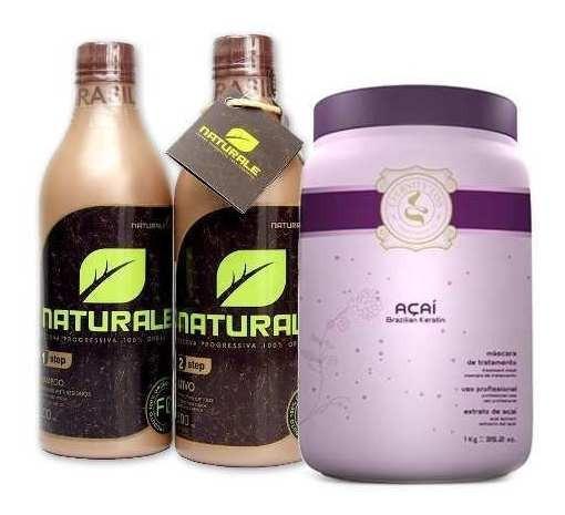 Escova Naturale 100% Orgânica 500ml + Hidratação Açai 1kg.