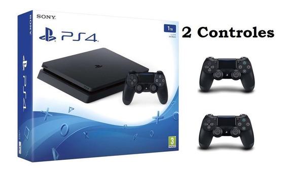 Sony Playstation4 Ps4 Slim 1tb Bivolt Cuh-2215b 2 Controles
