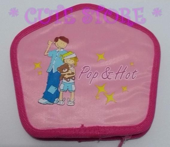 Porta Cd / Dvd Rosa Infantil Ursinho Com Zíper Cabe 24 Cds