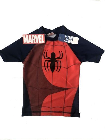 Remera Spiderman Pileta Filtro Solar Uv50 Hombre Araña Corta