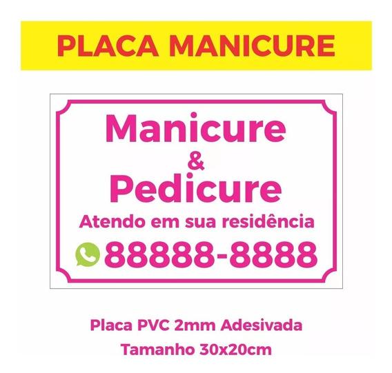 Placa Manicure Pedicure 30x20cm Promoçao