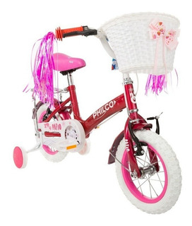 Bicicleta Chicas Niñas Rodado 12 Guardabarro Rueditas Philco