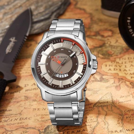 Relógio Masculino Curren Analógico Prata Original Pulseira Aço Inoxidavel