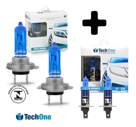 Kit Lâmpadas Techone Super Branca H7 + H1 Efeito Xenon 8500k