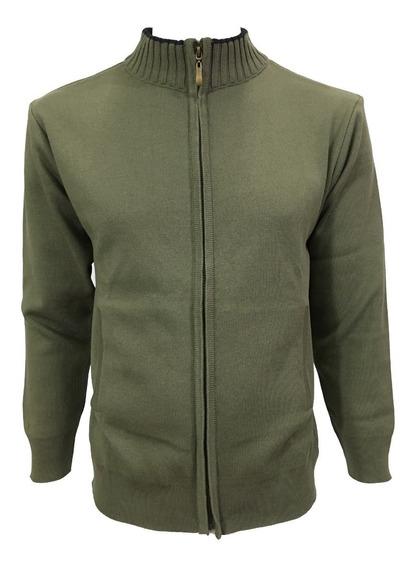 Suéter Verde Olivo Cierre Completo Hombre