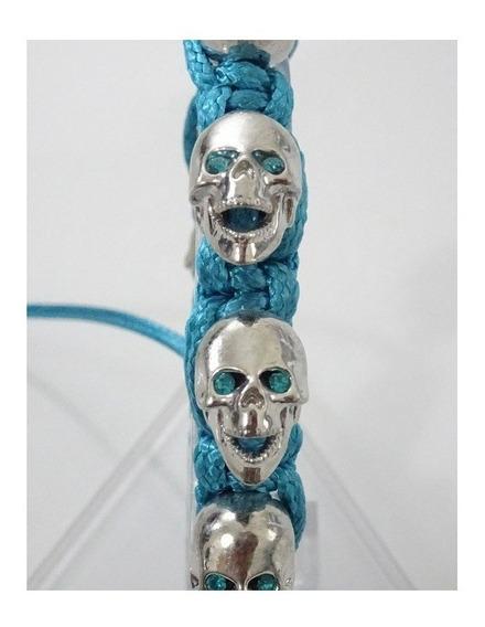 Pulsera Skull Azul Color Plata Estilo Bomberg Lisa B8