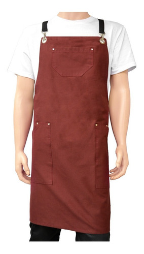 Delantal Chef Peto Bordo Espalda Cruzada Unisex